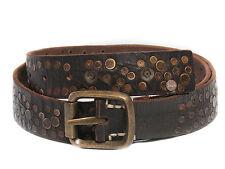 Marlboro Classics Cintura in pelle marrone scuro con borchiette metalliche decor