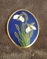 Vtg Fish & Crown Cloisonne Blue Enamel Oval Brooch Pin Snowdrop Flowers Floral