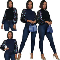 New Stylish Women Long Sleeves Sequins Patchwork Solid O Neck Casual Top T-Shirt