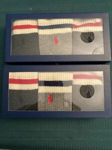 NEW RALPH LAUREN POLO MEN CREW SOCKS. TWO GIFT BOXES WITH THREE PAIRS EACH.