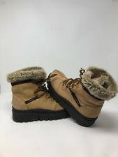Vtg 90s Skechers Tan Leather Platform Lug Sole 6.5 Ankle Combat Chunky Boots Fur