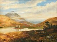H. Hutchison: Figures in a Lake Landscape/ British Scottish Realism 19th Century