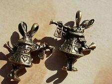 2 Brz PL White Rabbit  Alice in Wonderland  PENDANT sz Charm Drops  D.I.Y. Loose