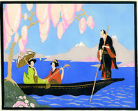 1930s French Pochoir Colored Print Chapuis Asian Boats Monk Geisha Cherry Tree