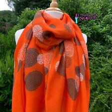 ORANGE SCARF WITH BROWN & WHITE BUBBLE CIRCLES DESIGN SUPERB QUALITY