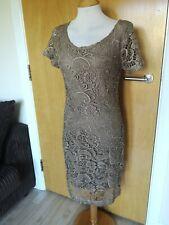 Ladies NEXT Dress Size 10 Mocha Lace Wiggle Pencil Party Evening Wedding