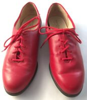 Soft Spots Womens Size 8 M Red Lace Up Casual Oxford Comfort Shoes Made in USA