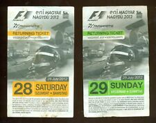 FORMULA-1 HUNGARORING RACES EVENT HUNGARY 2012 RETURNING TICKETS LOT of 2