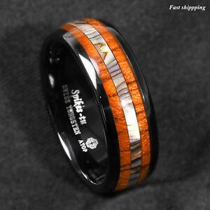 8/6mm Black Tungsten carbide ring Koa Wood Abalone ATOP Wedding Band Men Jewelry