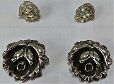 Rose Flower Clip-on Earrings Pre-Owned Israeli Sterling Silver Designer Lgw 925