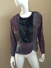 Vintage Boutique Country Wear Purple/Mauve 100% Rayon/Velvet/Lace Top NEW! 10P