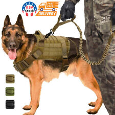 Tactical Police K9 Training Dog Harness Military Adjustable  Nylon Vest+Leash