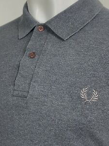 Fred Perry   Made In England Block Tipped Pique Polo Shirt 44 L XL (Grey) Mods