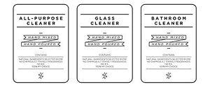DIY cleaning decals / labels set - designer white or black (removable/ reusable)