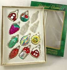 *Set of 9* VINTAGE MERCURY BLOWN GLASS CHRISTMAS ORNAMENTS - Pine Cones Mushroom