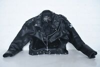 Custom Work MENS 44 Vtg FMC Motorcycle Biker Punk Rocker Black Leather Jacket