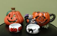LOT HALLOWEEN 4 Tealight Candle Holder Ceramic Pumpkin Jack-O-Lantern Black Cat