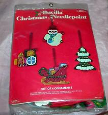 VTG 1970'S UNOPENED BUCILLA CRAFT KIT, NEEDLEPOINT FIGURAL XMAS ORNAMENTS