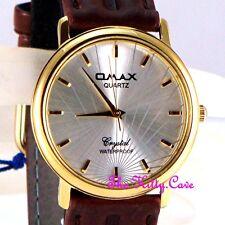 Omax SC7431 Waterproof Gold Silver Laser Gents Unisex Swiss Brand Leather Watch