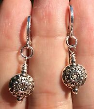 Imprinted Flower Coin & Sterling Silver Plated Leverback Earrings Sundance Arti