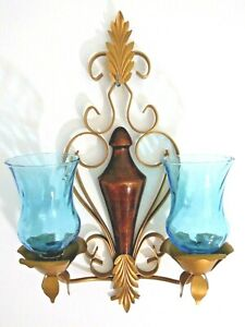 VTG MCM Metal DOUBLE CANDLE HOLDER WALL SCONCE Flower Floral Blue Glass Glamor