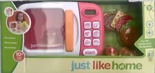 JUST LIKE HOME MICROWAVE Pink 10Pcs Kid/Child Pretend Toy Kitchen Appliance Food