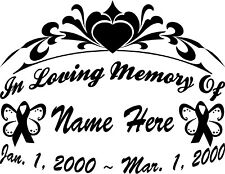 "In Loving Memory Of CANCER BUTTERFLY 11"" Lg Decal Window Memorial CAR Sticker"