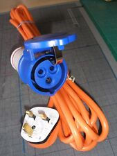 UK 3-pin Plug 230v 13A Mains Caravan Home Hook-Up Cable 1.25mm² ORANGE 2m