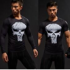 Herren Superheld Punisher Compression T-shirt Langarm Kurzarm Gym Sport Jersey