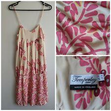 Temperley London Dress Size 10 Alice Silk Peach Pink Strap Floral Damage d