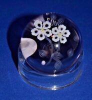 Baccarat France Crystal Paperweight 2002 mini millifiori floral figurine w/ box