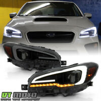 2015-2020 Subaru WRX STI Black Smoked LED Sequential Signal Projector Headlights