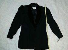 DONNA MORGAN BLACK DRESS JACKET  SIZE 9/10 VELVET ORNATE COLLAR (DRY CLEAN ONLY)