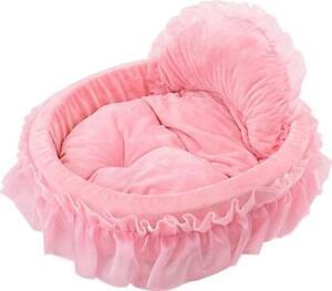 WYSBAOSHU Lace Princess Dog Cat Pet Bed Sofa (L, Pink)