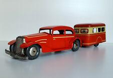 Vintage Joustra tinplate Car & Caravan Clockwork Litho tin toy France 1952 RARE