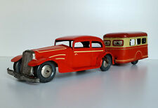 VINTAGE JOUSTRA BANDA STAGNATA Auto & Caravan Clockwork LITHO Tin Toy FRANCIA 1952 RARA
