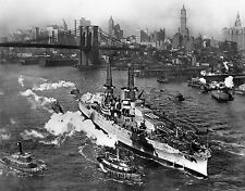 USS Arizona On The East River New York City 1916 Amazing 8.5x11 Photo