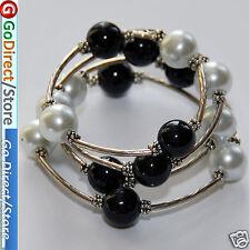 7.5 Inches Black & White 12mm Shell Beads Bangle Wrap Bracelet, fashion design