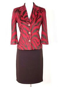 ST.JOHN Collection Womens Suit Knit Red Brown Jacket & Brown Skirt Sz 4