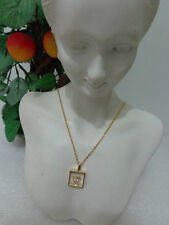 US Vintage Park Lane Heart Rhinestone Pendant Goldtone Necklace Jewelry 1980