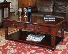 Chateau Solid Mahogany Living Room Furniture Two Drawer Storage Coffee Table