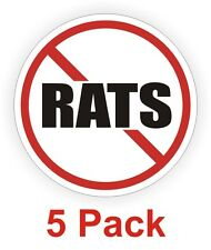5-pack NO RATS Hard Hat Decals / Motorcycle Helmet Labels / Vinyl Stickers Funny