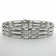 14k Brushed White Gold Men's Diamond Bracelet 3.01 CTS Gold Mens Bracelet