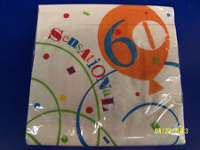 Sensational 60 Over the Hill Bright 60th Birthday Party Paper Luncheon Napkins