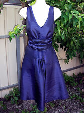 VANESSA TONG blue pleat V-neck cocktail party dress wrap sash bow 8 NWT $59.95!