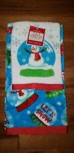 Winter Hand & Tip Towel  2 Piece Set Embroided Christmas Snowman Snow Globe