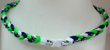 "NEW 20"" Custom Clasp Braided Sports Neon Green Navy Blue White Tornado Necklace"