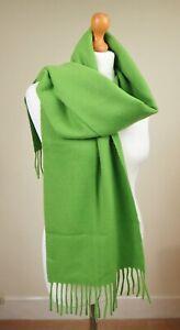 Designer Fiori di Firenze Made In Italy 100% Wool Long Scarf Wrap Mid Green