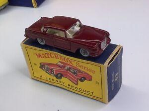 Matchbox vintage #53 Red Mercedes grey wheels In Original Box