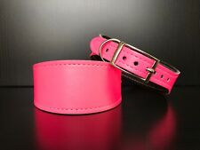 S, M - Leather Lined Dog Collar Greyhound Whippet Lurcher FLUORESCENT PINK